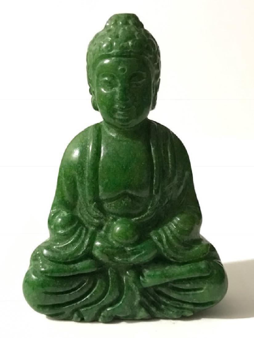 Vintage Carved Green Jade Seated Quan Yin Buddha