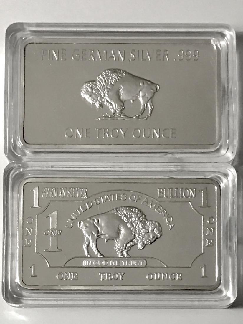 1 Troy Oz .999 German Silver Buffalo Bullion Bar - 2