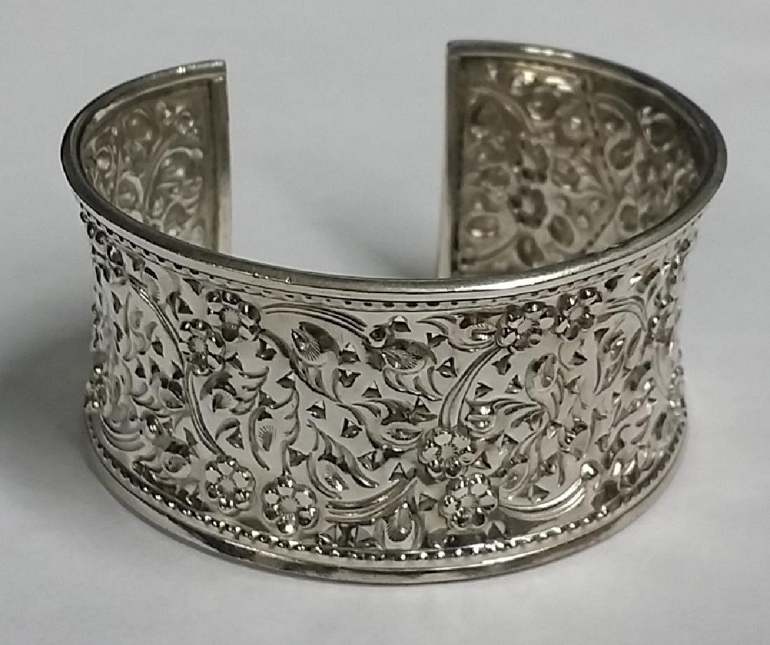 Thick Sterling Silver Etched Cuff Bracelet
