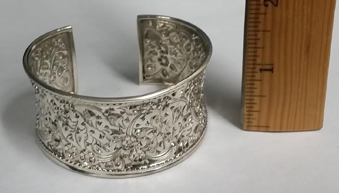 Thick Sterling Silver Etched Cuff Bracelet - 2
