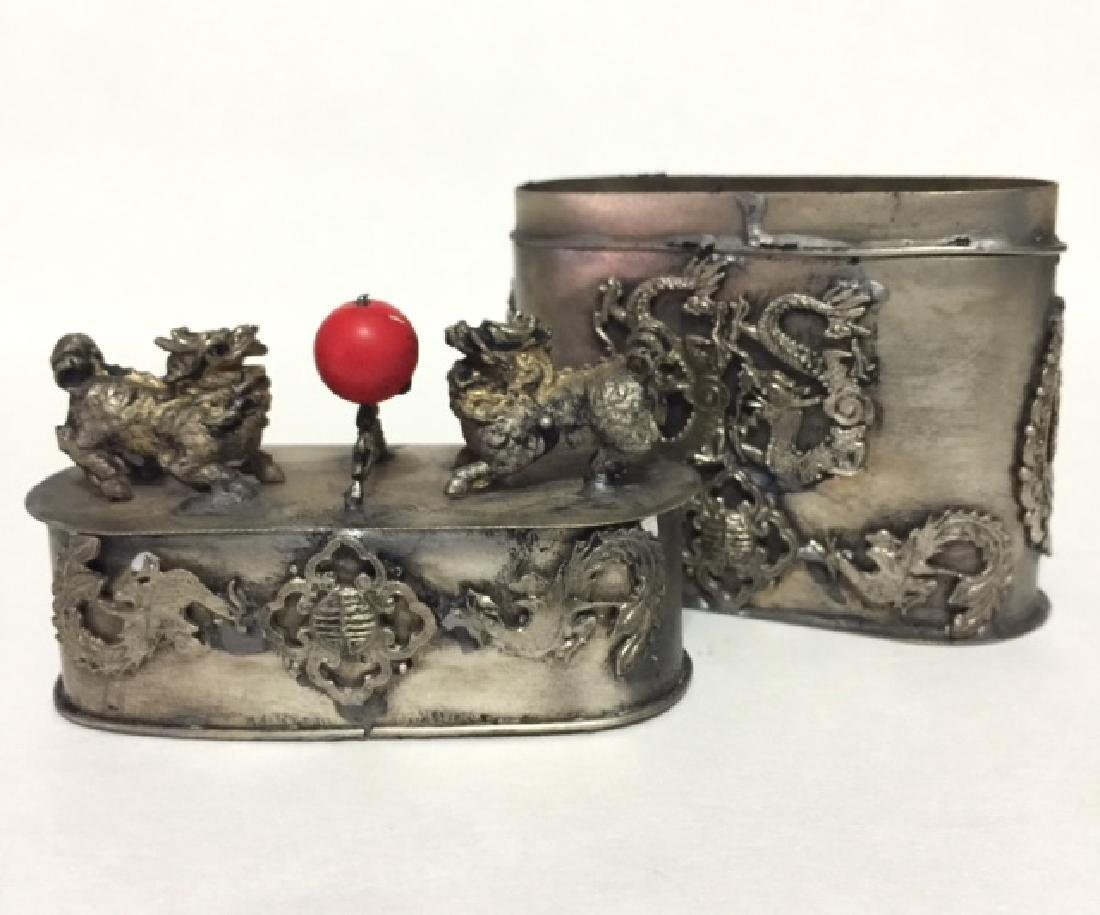 Old Chinese Silver FOO DOG Top Tobacco Snuff Box - 2