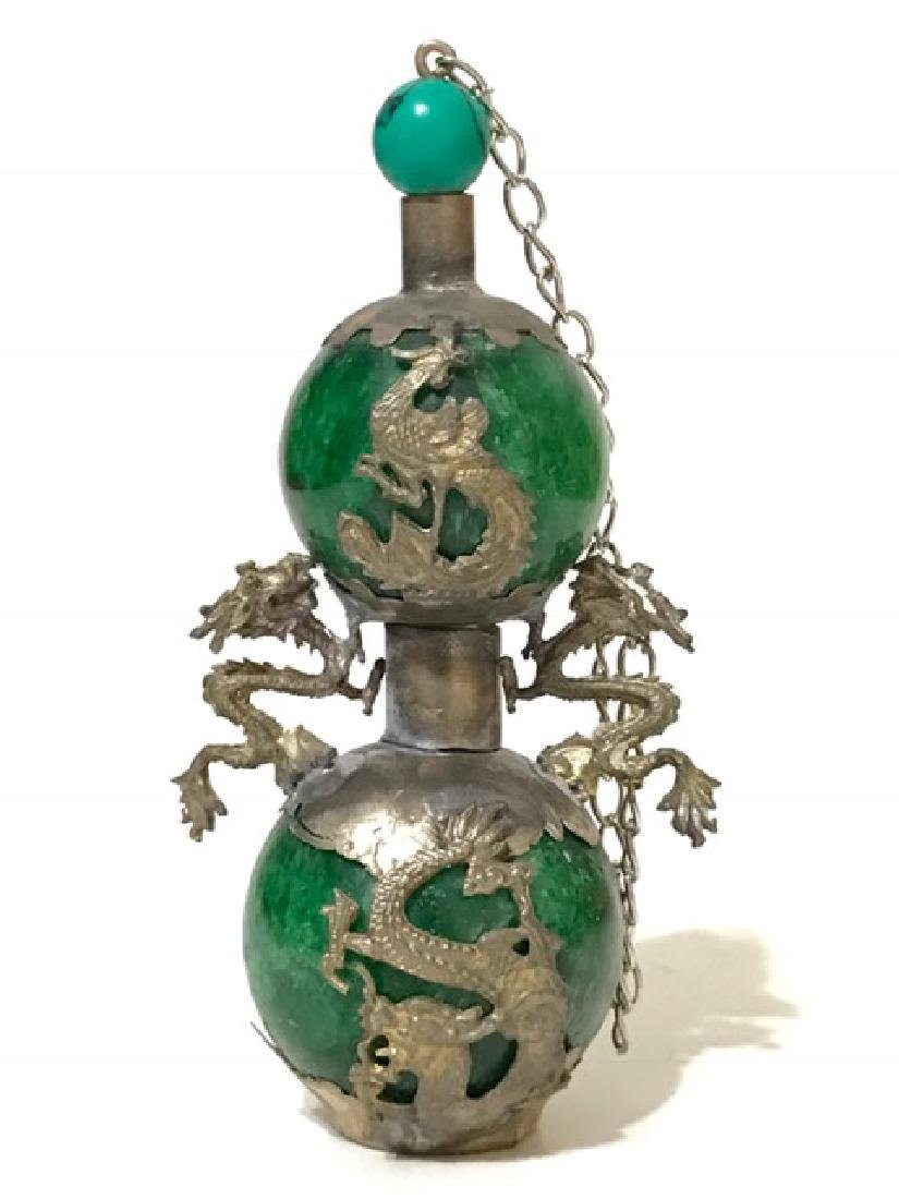 Chinese Folk Art Green JADE & SILVER Snuff Bottle