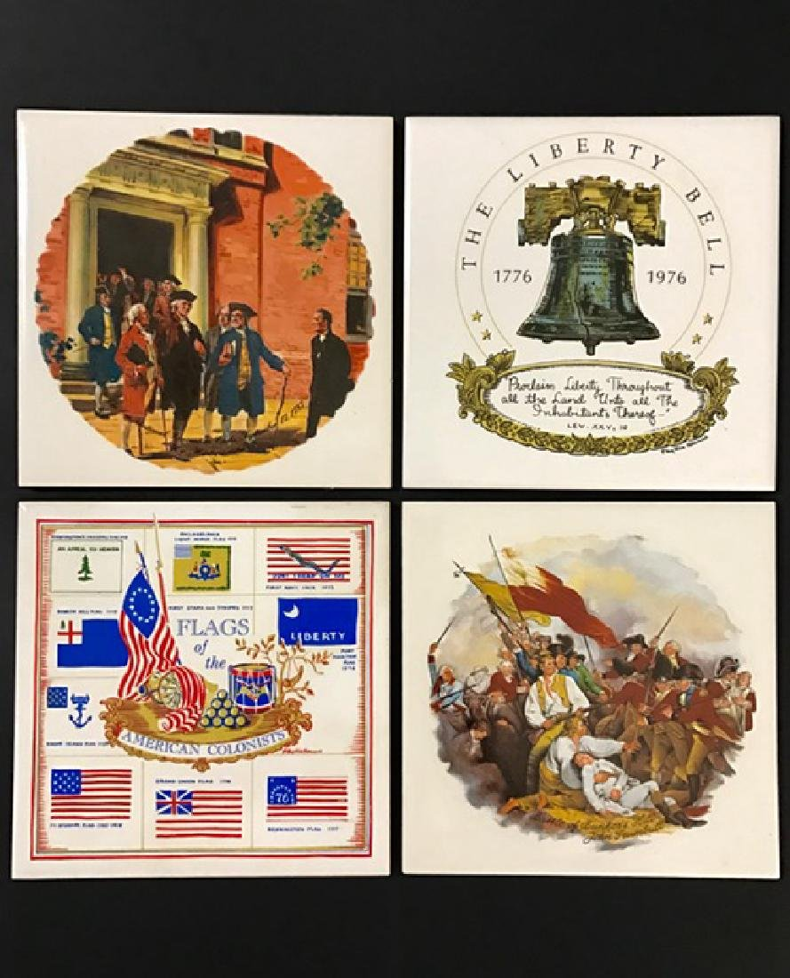 Lot of 4 Signed Early U.S. History Ceramic Tile Art