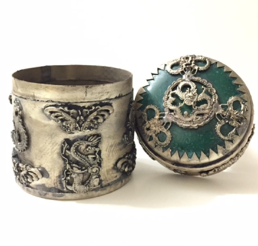 Old Chinese Handmade JADE Inlay Tobacco Snuff Box