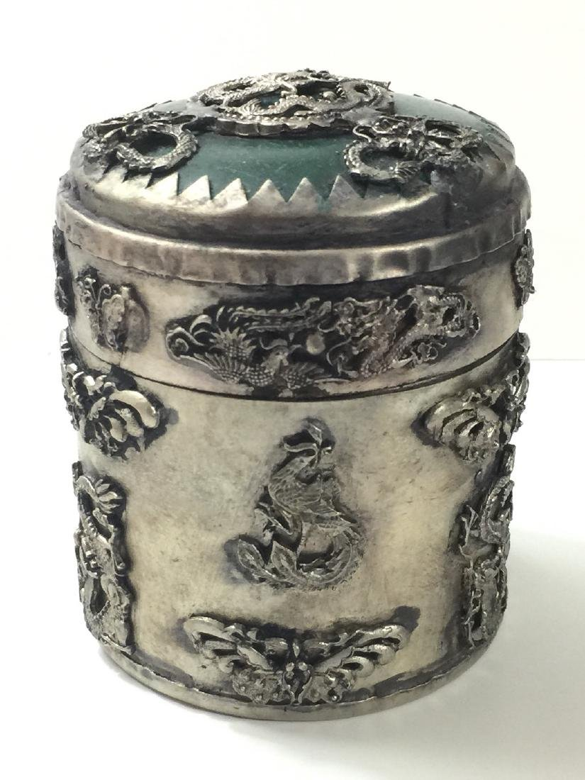 Old Chinese Handmade JADE Inlay Tobacco Snuff Box - 3
