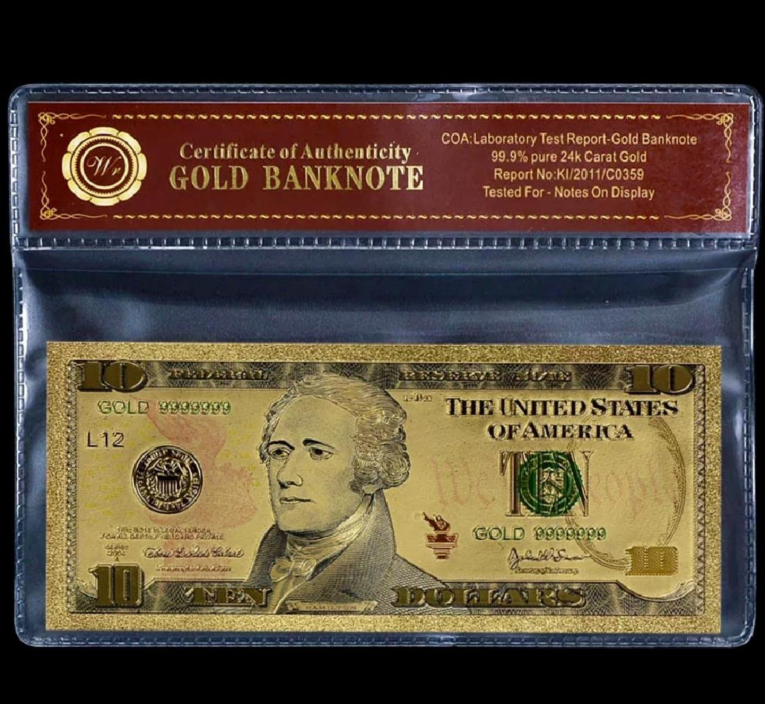 99.9% Pure 24k Lab Tested $10 Gold Banknote