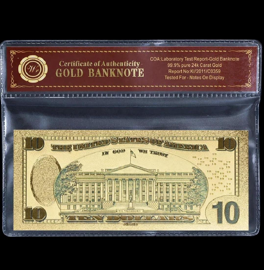 99.9% Pure 24k Lab Tested $10 Gold Banknote - 2