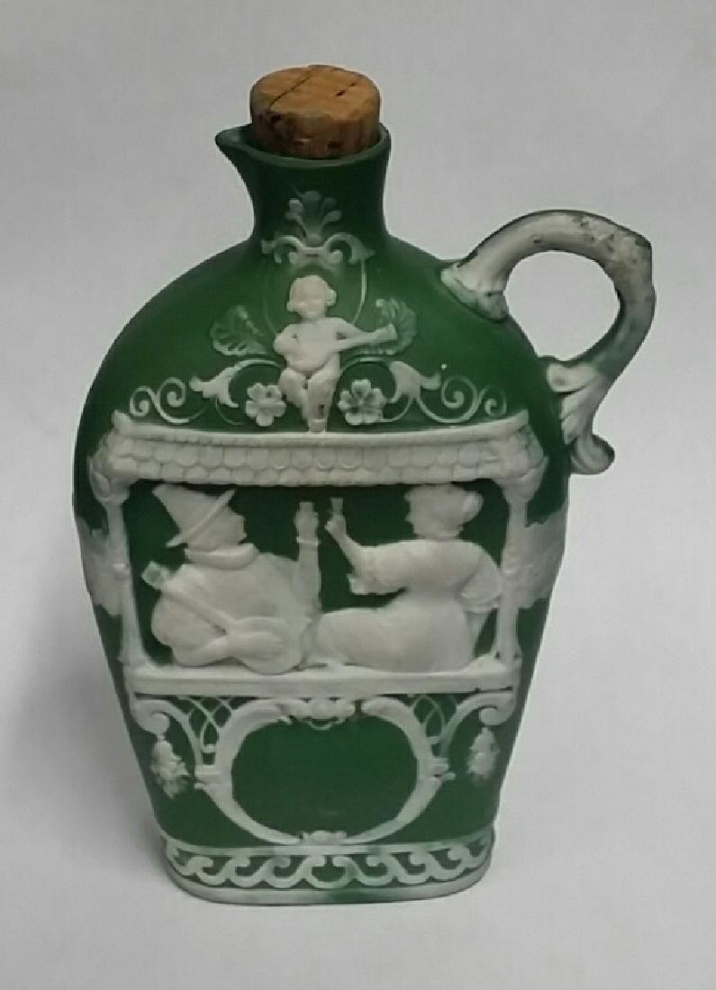 Antique Green Jasperware Oil Cruet