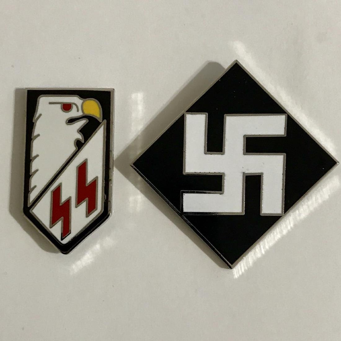 Lot of 2 Enamel Nazi Germany Uniform/Gestapo Pins