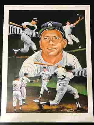 Authentic Pencil Signed MICKEY MANTLE Lithograph