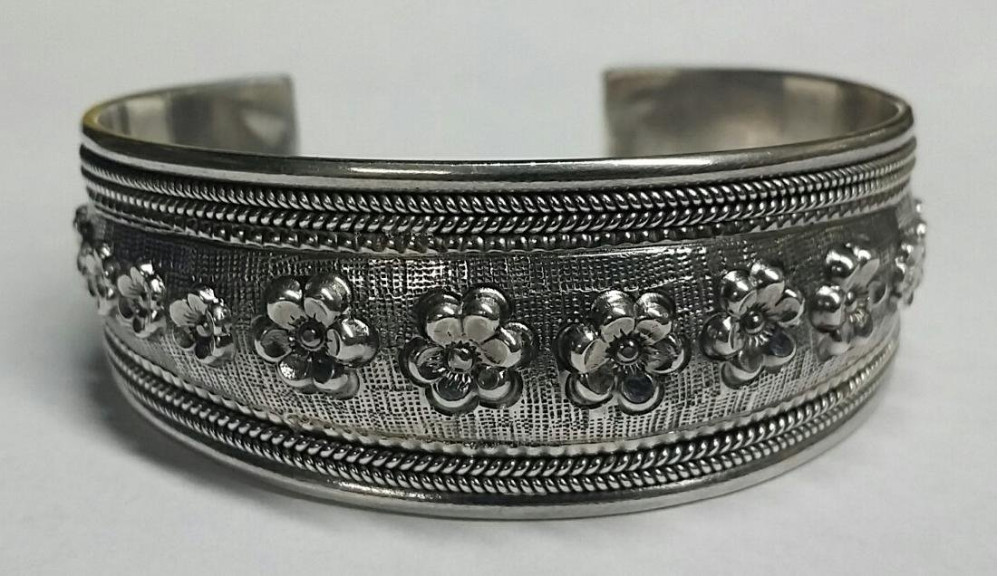 Heavy Sterling Silver Floral Cuff Bracelet