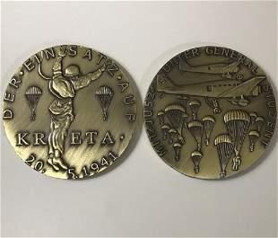 1941 WW2 Nazi German KRETA 2.5oz Bronze Medallion