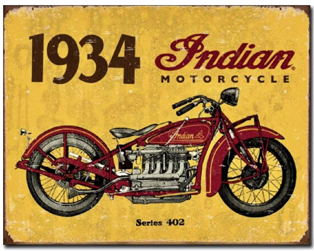 Awesome 1934 INDIAN MOTORCYCLES Retro Metal Sign