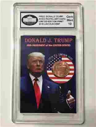 Rare DONALD TRUMP Inaugural Lincoln Cent Art Card