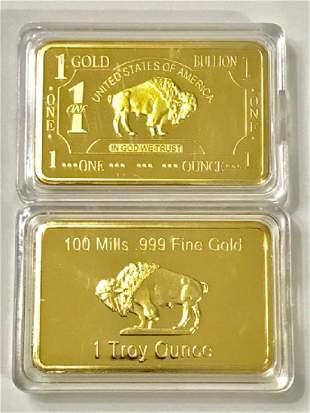 1 Troy Ounce .999 Fine Gold Clad Buffalo Bar