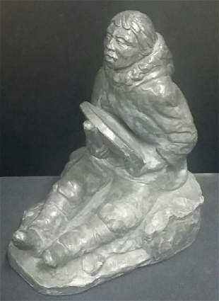 Vintage Large Artist Signed Eskimo Sculpture
