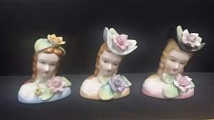 Lot of 3 Vintage Porcelain Busts