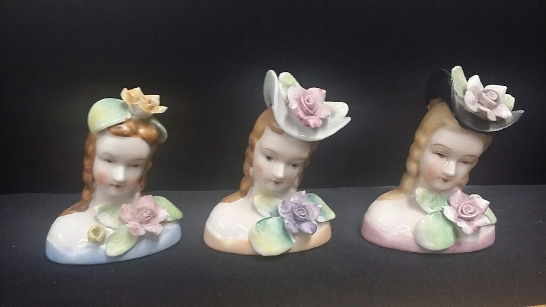 Lot of 3 Vintage Porcelain Busts