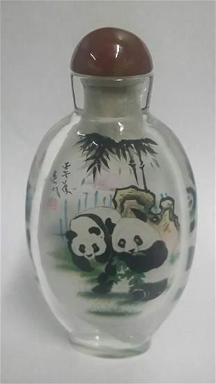 Large Reverse Painted Oriental Snuff Bottle
