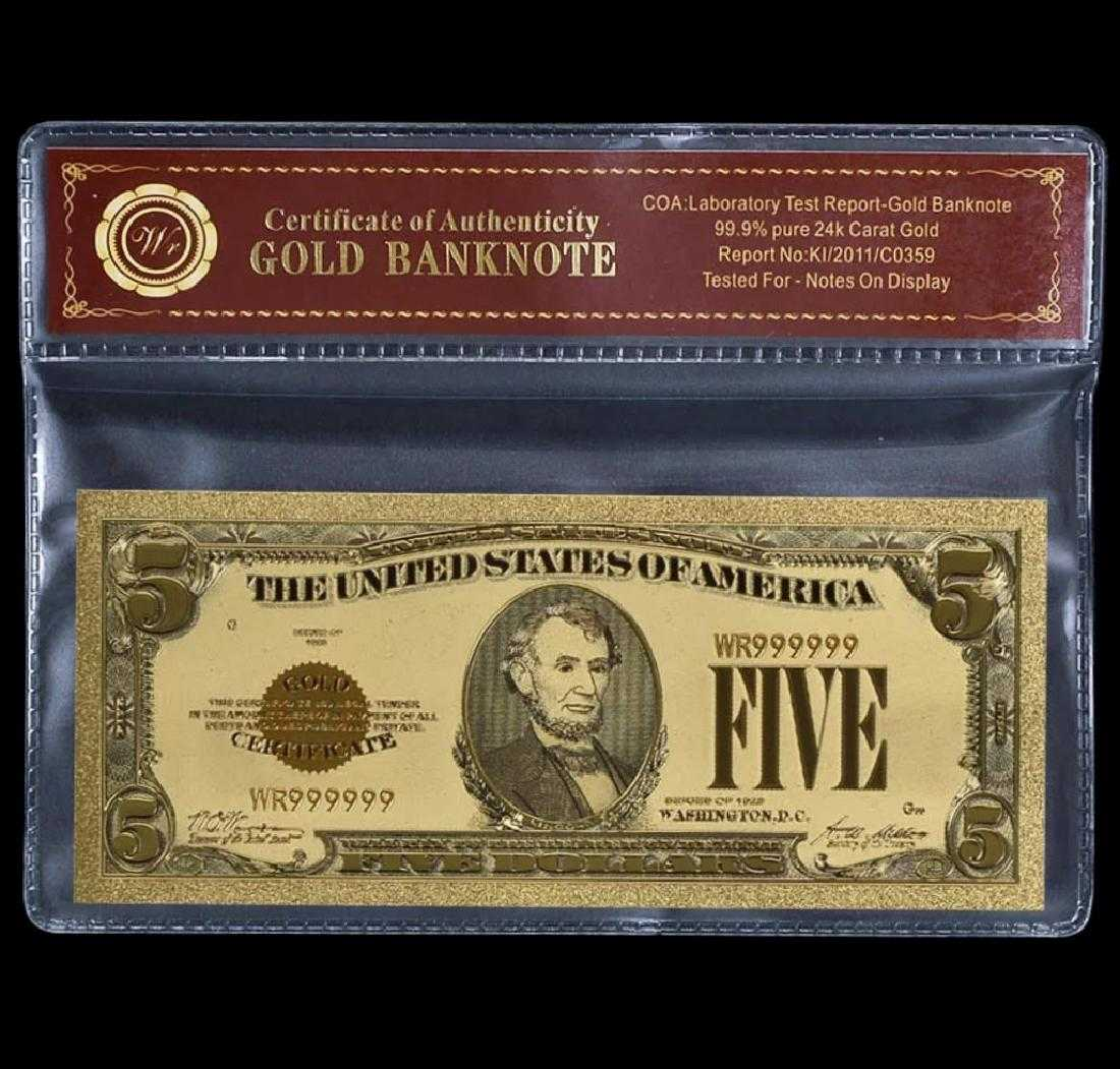 1928 Pure 24k Gold 5 Gold Certificate Banknote