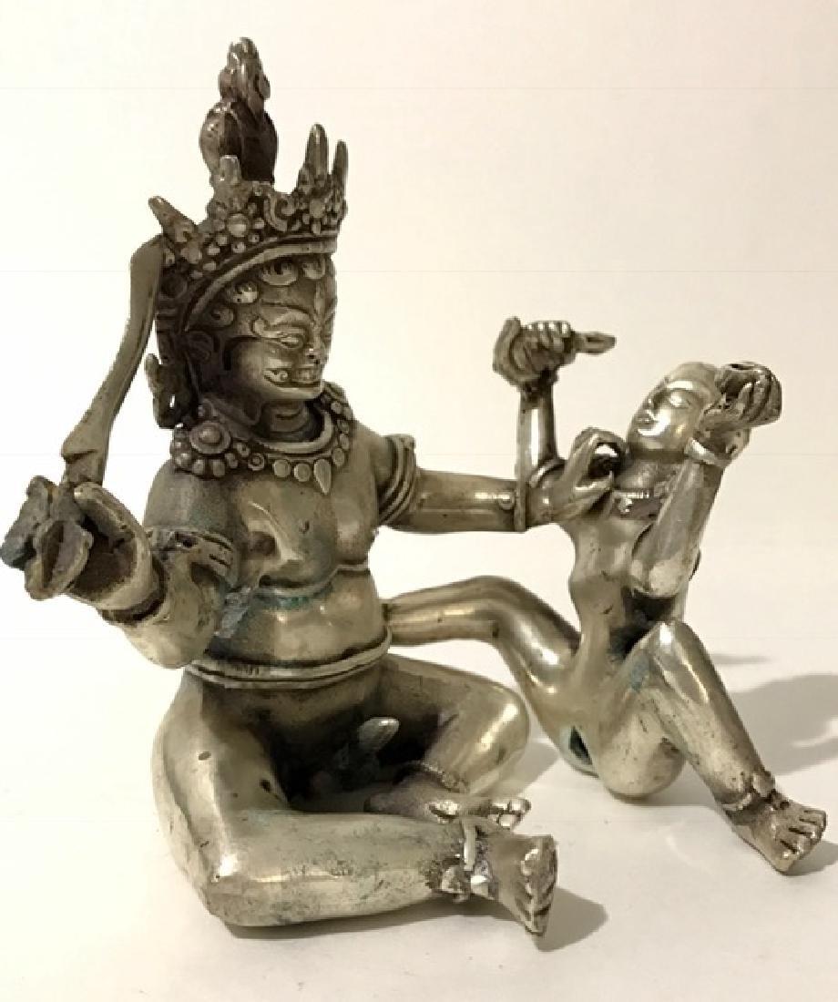 Antique TIB Silver MANDKESVARA Yab-Yum Sex BUDDHA - 2