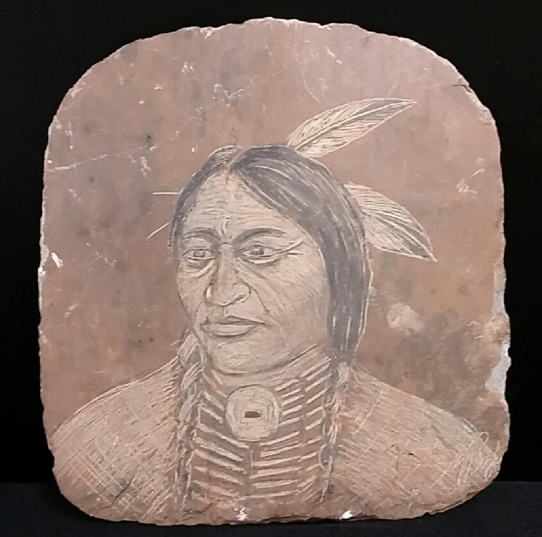 Native American Artist Signed Chief Portrait