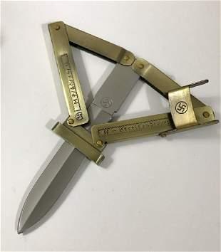 German Nazi Swastika Paratrooper Folding Knife