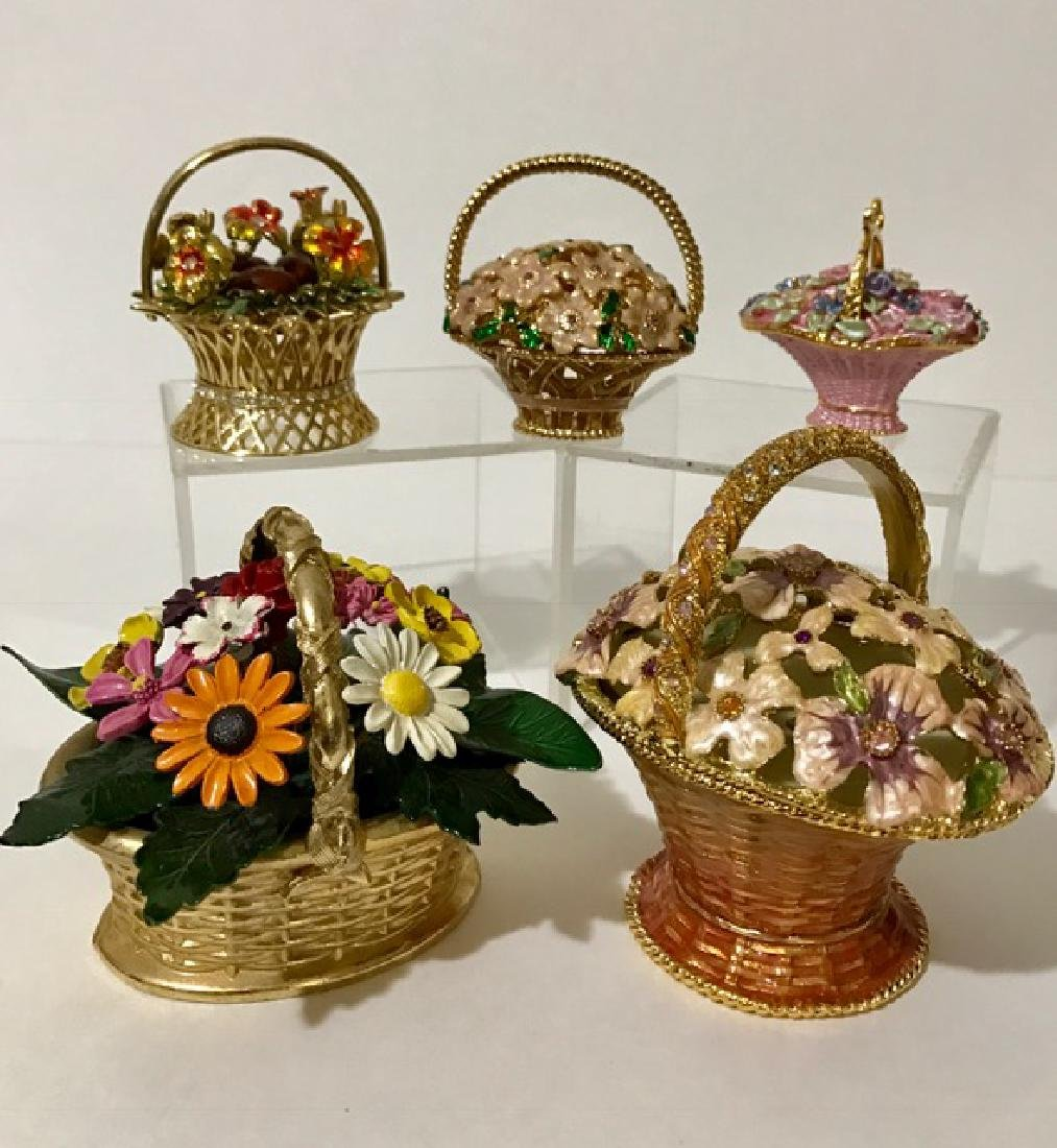 Lot of 5 Enameled Bouquet/Trinket & Music Boxes