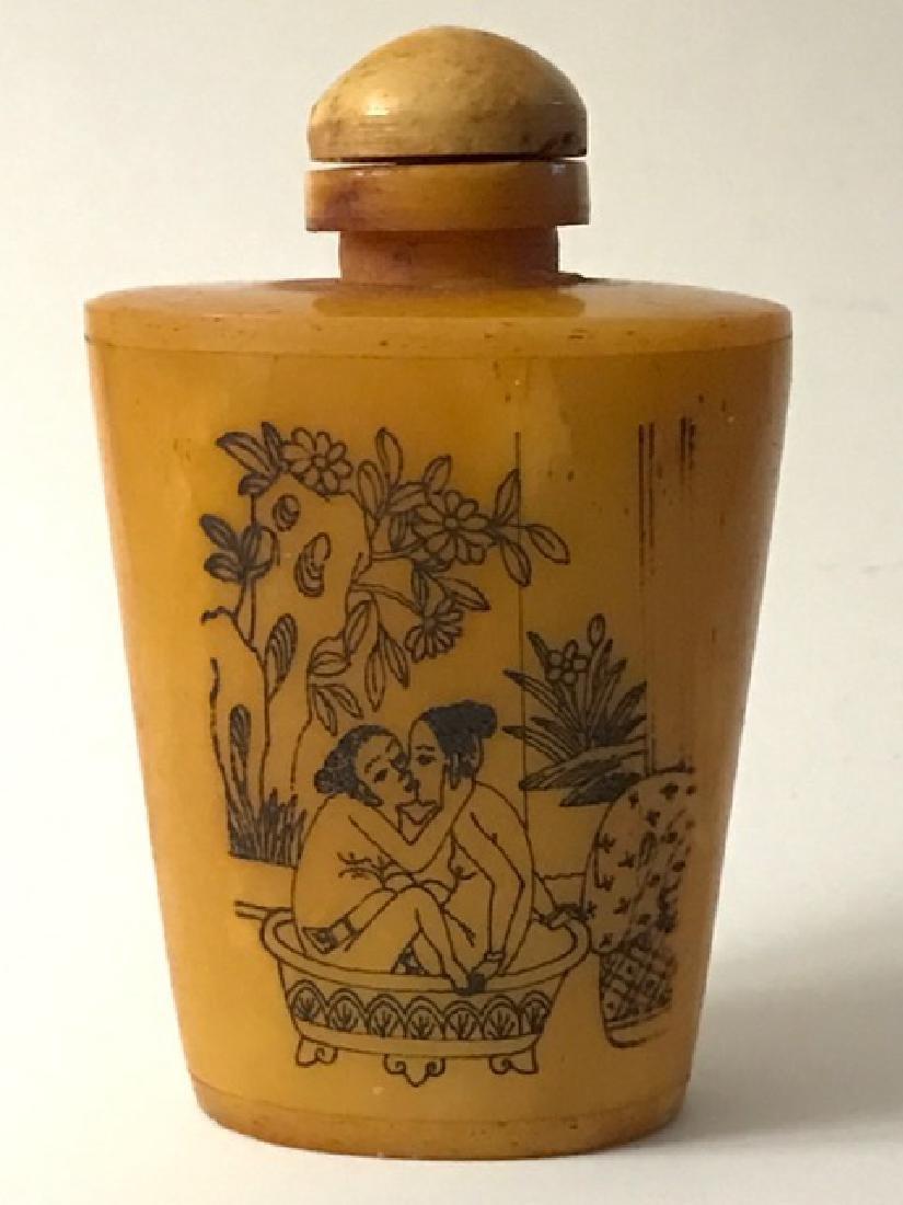 Erotic Scrimshaw Ox Bone Chinese Snuff Bottle