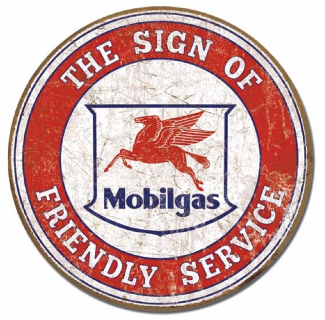 Iconic MOBILGAS Flying Pegasus Retro Metal Sign