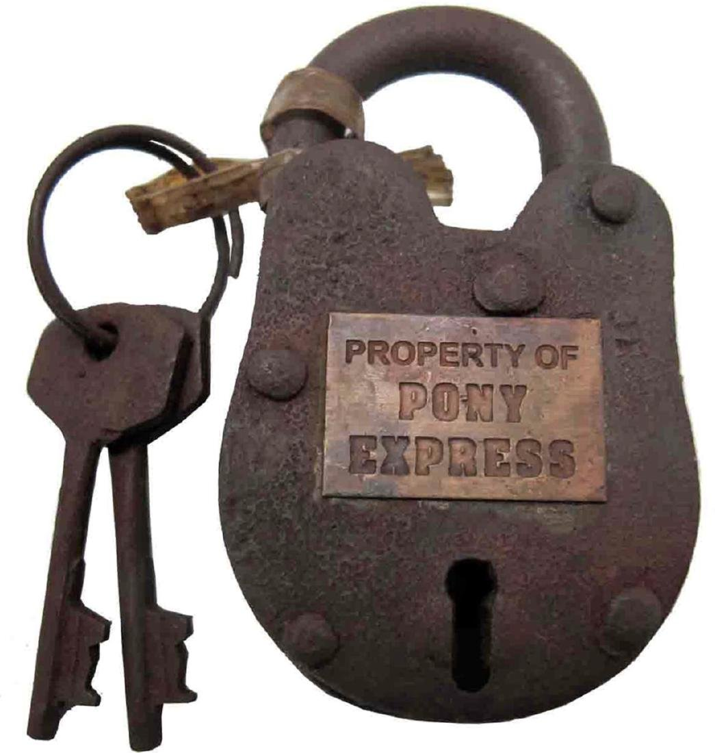"Old West ""Pony Express"" Pad Lock with Keys"