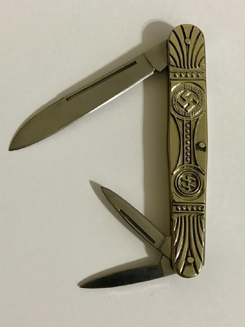German Nazi Swastika Iron Cross Pocket Knife - 2