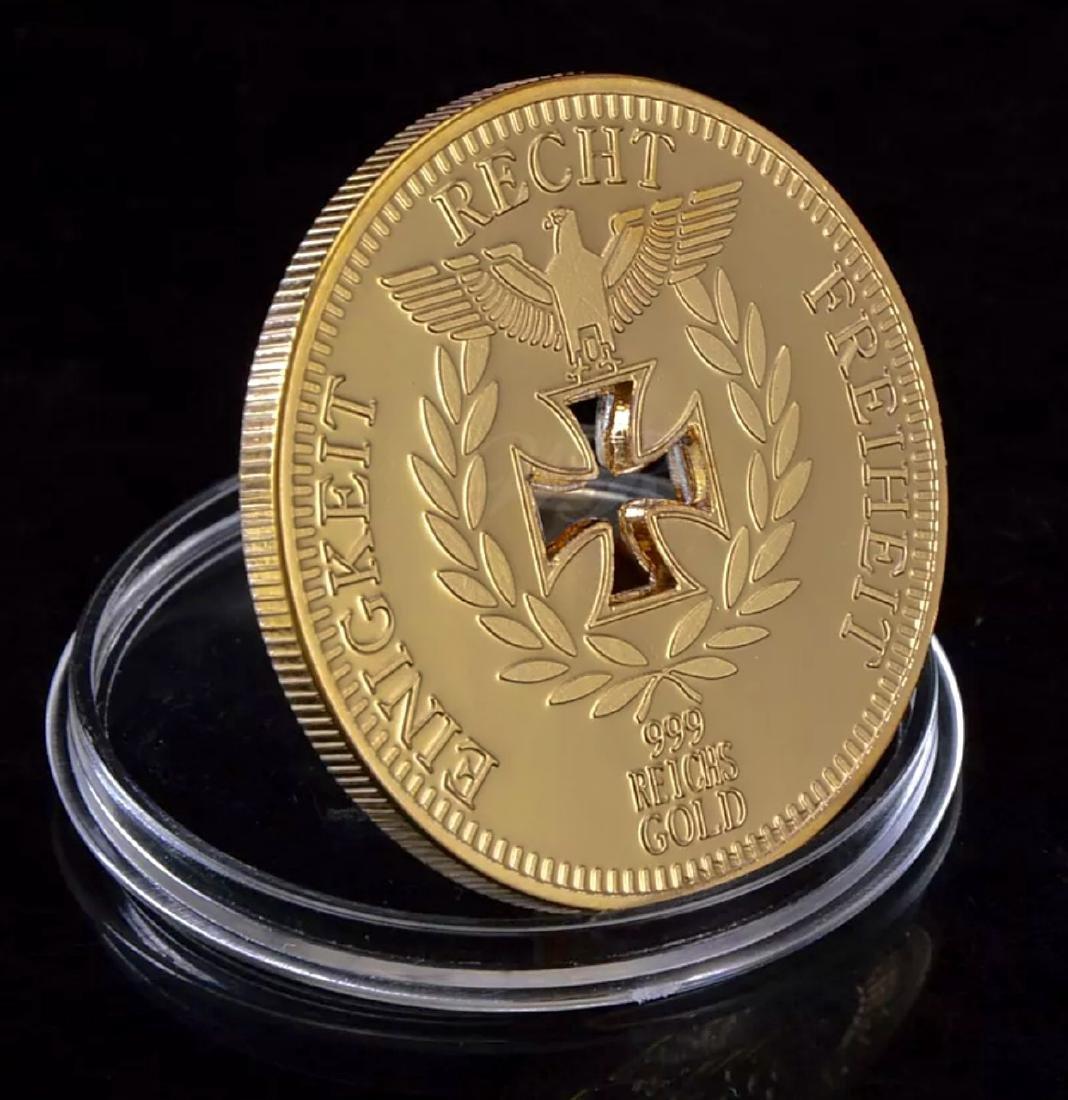 1oz .999 Gold Clad German Iron Cross REICHS Coin - 2