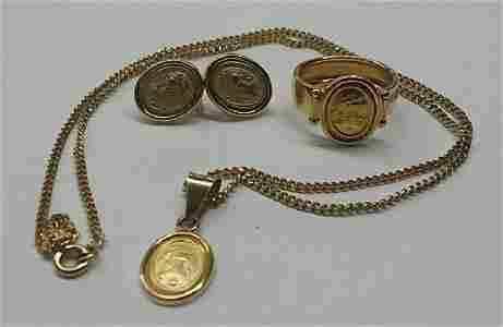 Vintage 18k Gold European Jewelry Set
