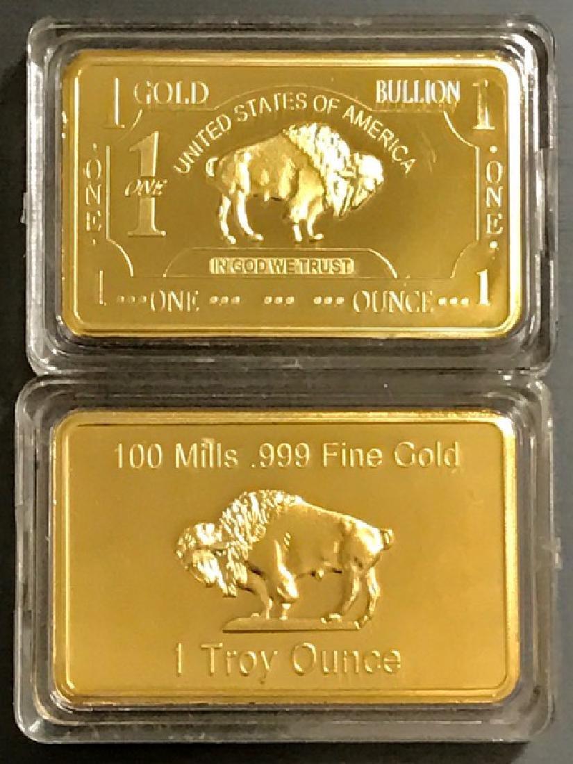 1 Troy Ounce .999 Fine Gold Clad Buffalo Bar - 2