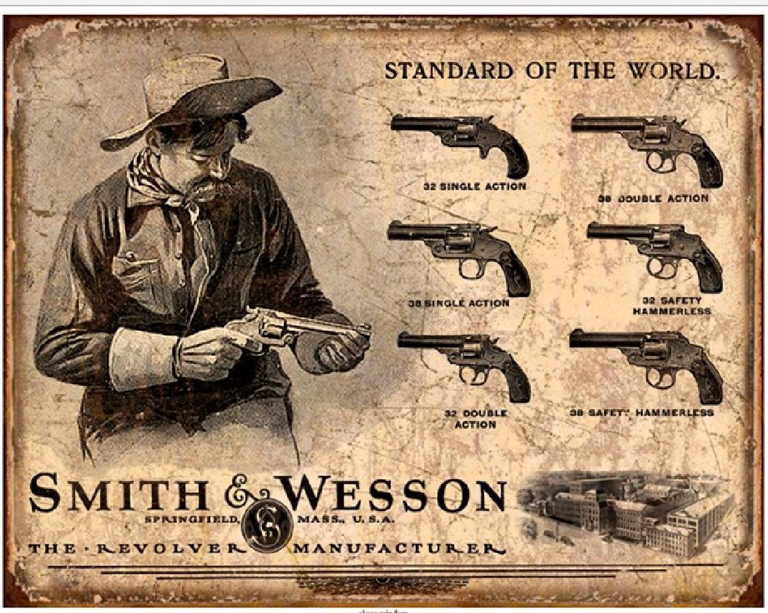 SMITH & WESSON History of the Revolver Metal Sign