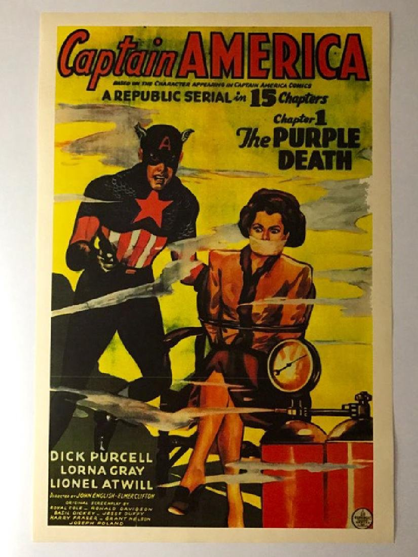 1944 Captain America Movie Theatre Lobby Poster