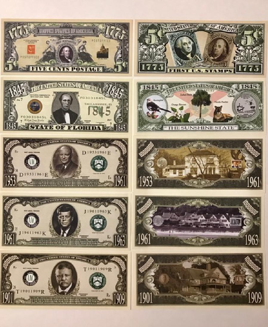 Lot of 5 Patriotic Mint US Banknote Currency Bills