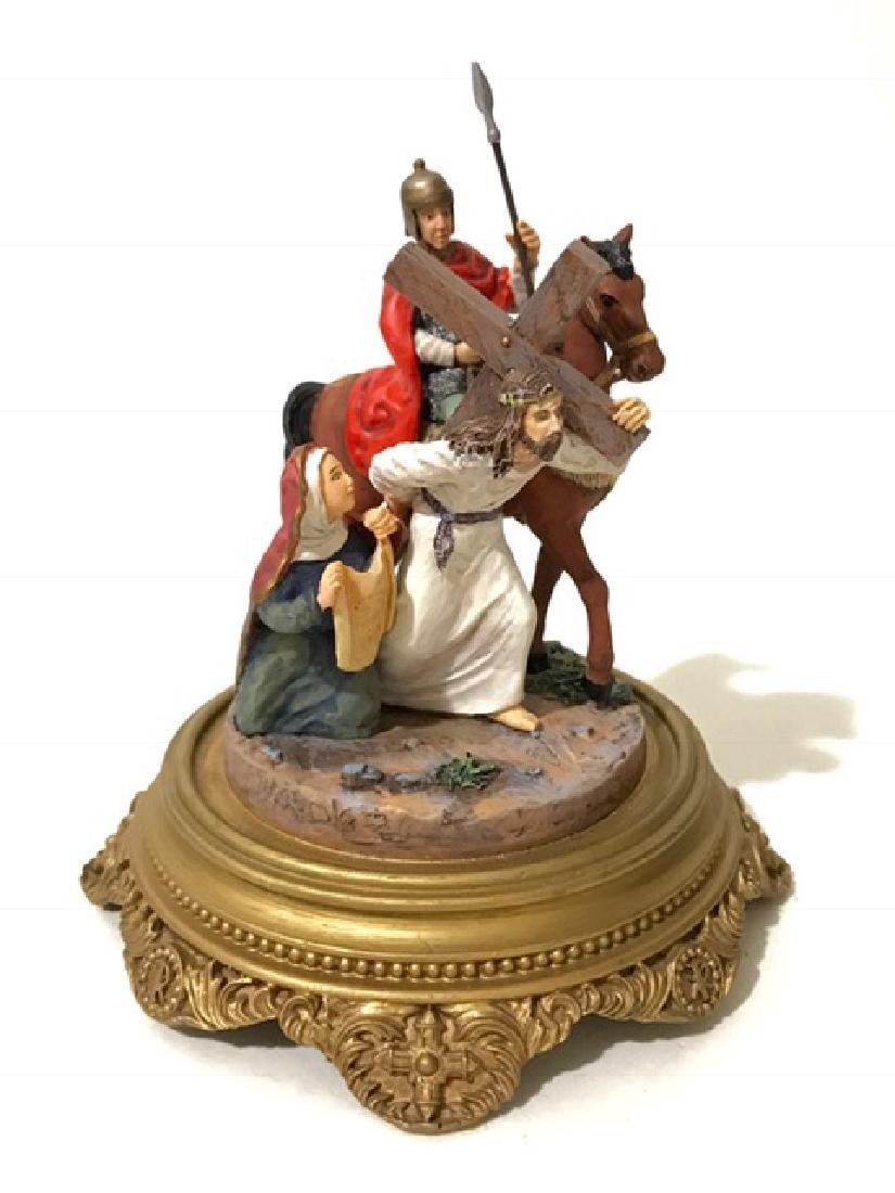 Signed Religious ROAD TO CALVARY Domed Figurine - 2
