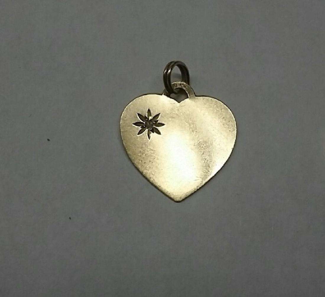 10k Gold & Diamond Vintage Heart Pendant