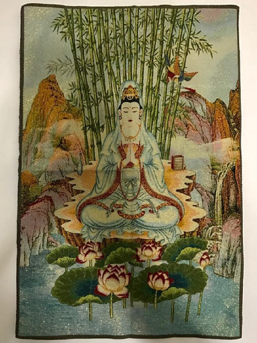 """Vintage Handmade Chinese Silk Embroidery 16"""" x 24"""""""