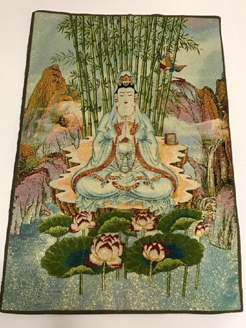 """Vintage Handmade Chinese Silk Embroidery 16"""" x 24"""" - 2"""