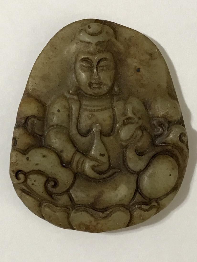 19th Century Green Jade QUAN YIN Buddha Carving