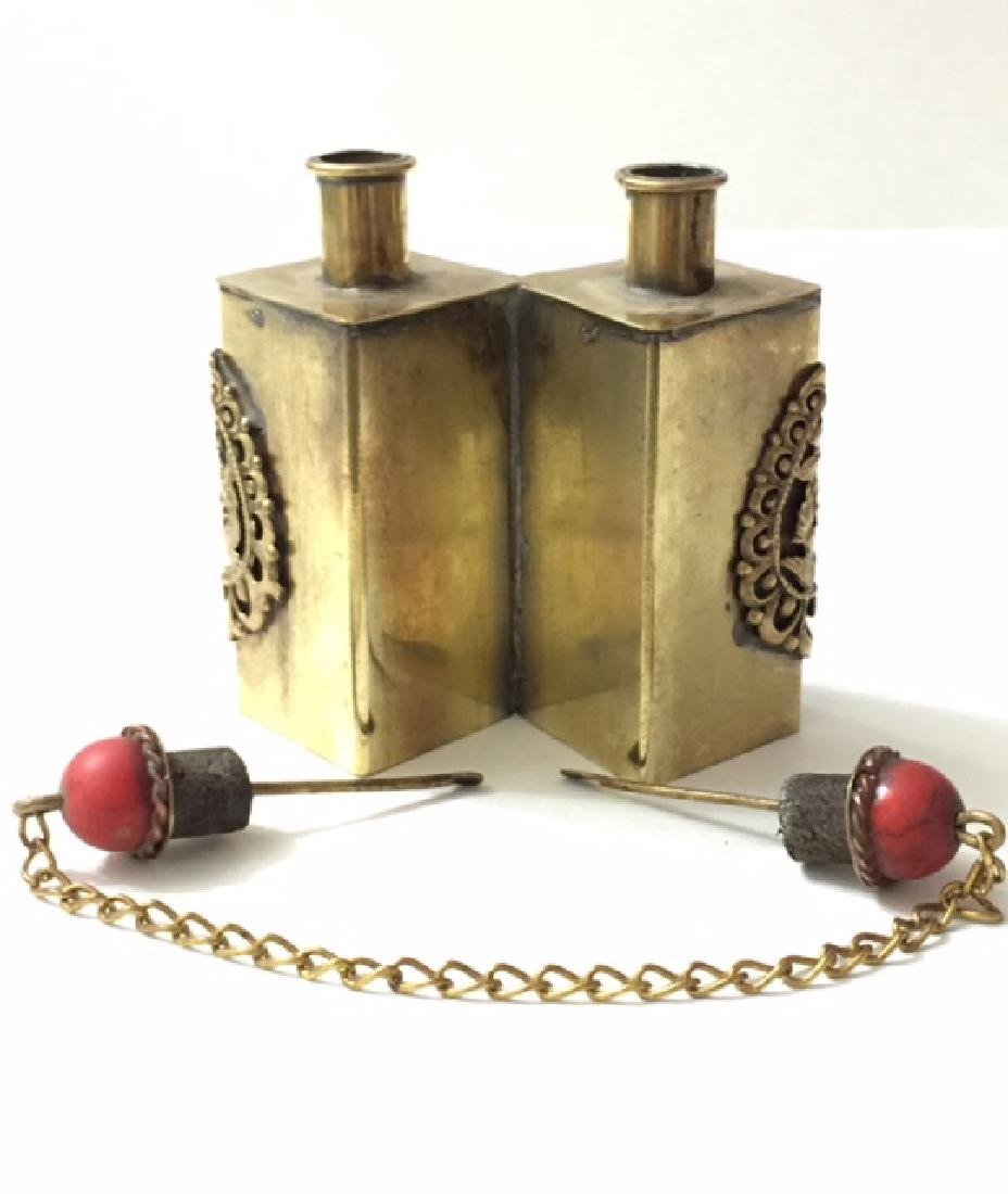 Unique Chinese Handmade Dual Copper Snuff Bottle - 2