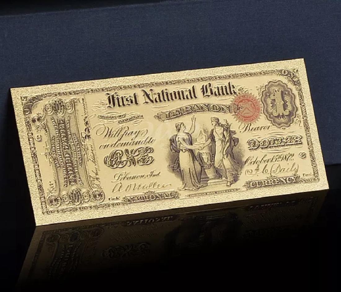 1875 – 24k Gold $1 - U.S. Banknote Currency Bill - 3