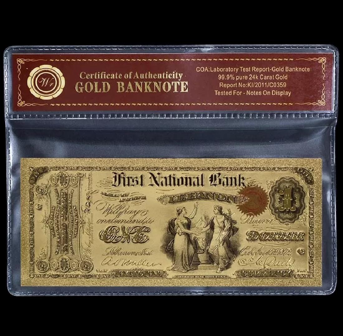 1875 – 24k Gold $1 - U.S. Banknote Currency Bill - 5