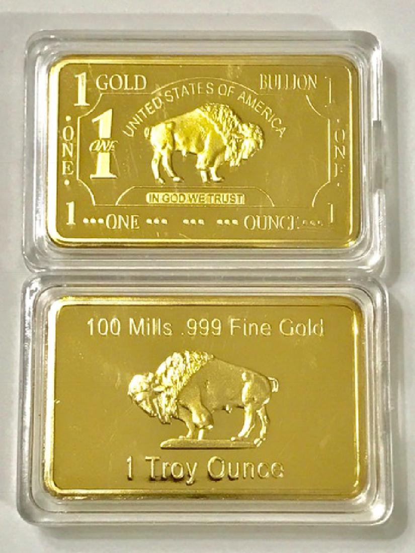1 Troy Ounce .999 Fine Gold Clad Buffalo Bar