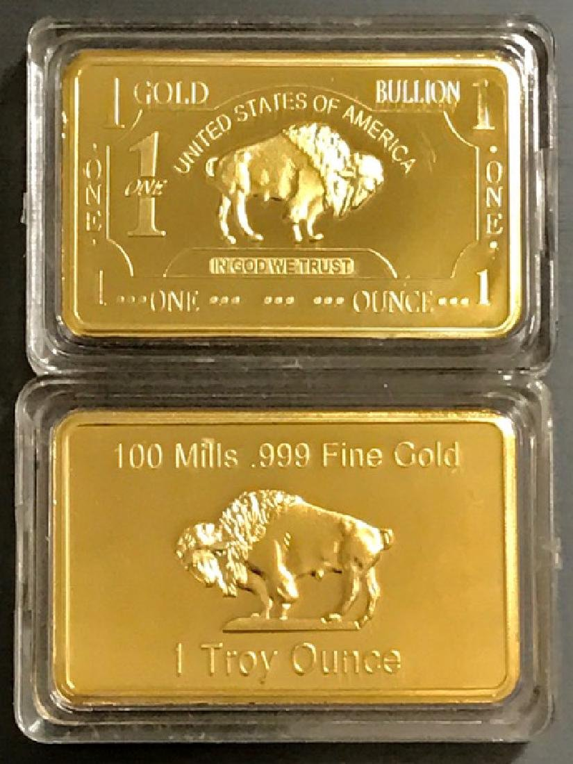 1 Troy Ounce .999 Fine Gold Clad Buffalo Bar - 2