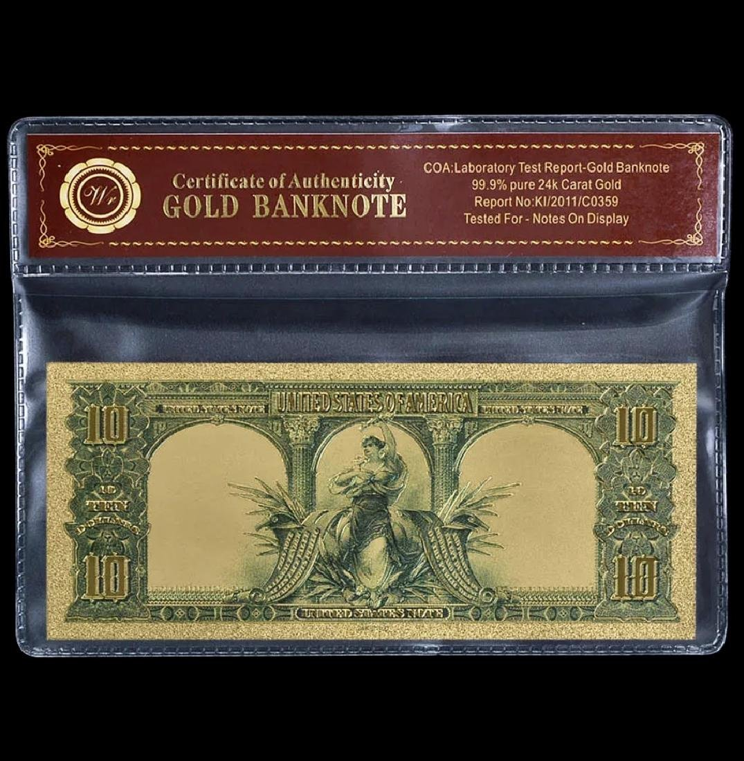 1901 Lab Tested Pure 24k Gold Bison $10 Banknote - 2