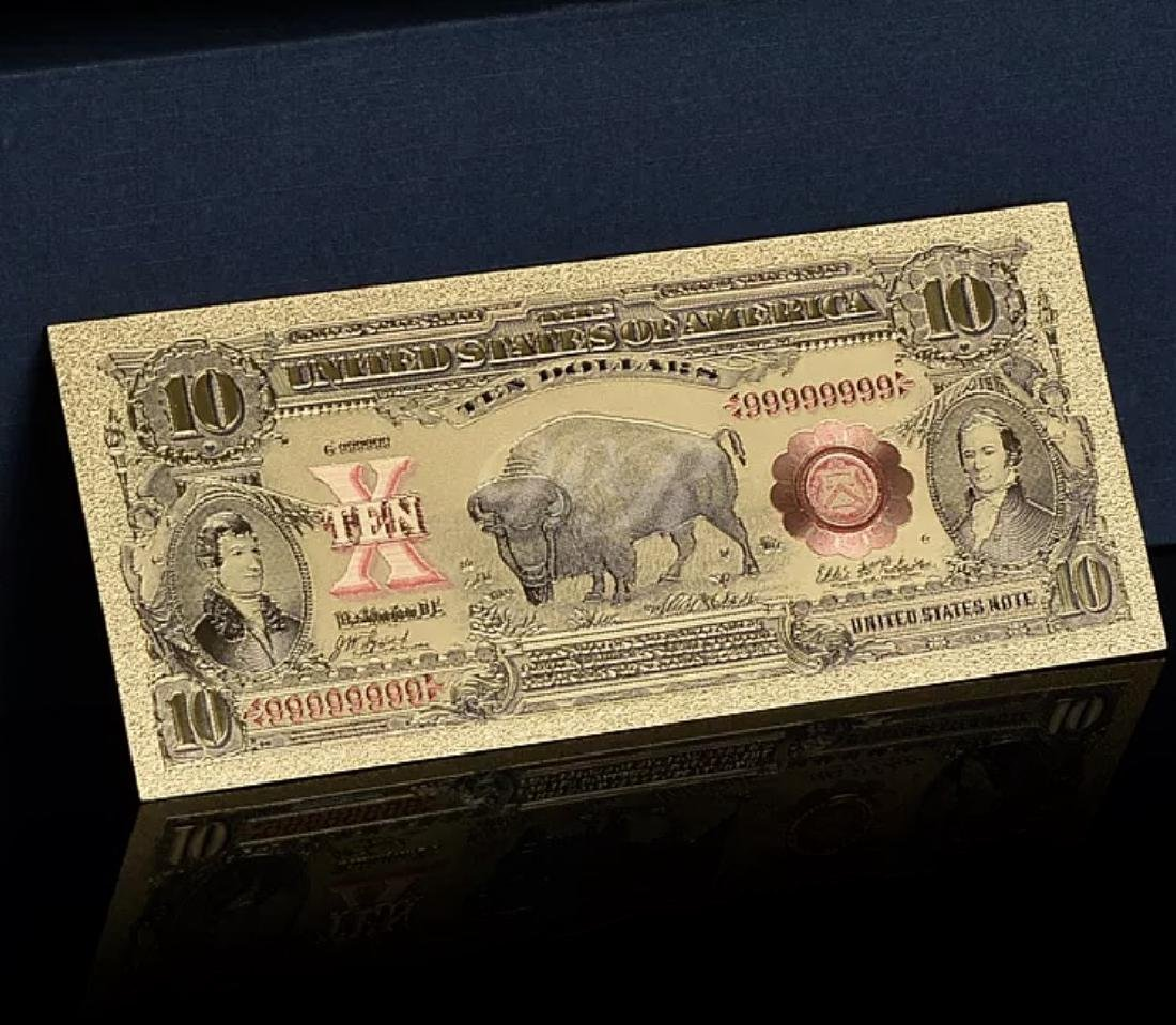 1901 Lab Tested Pure 24k Gold Bison $10 Banknote - 3